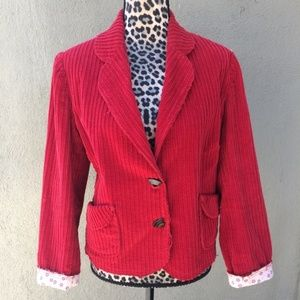 Johnny Was Red Frayed Thick Corduroy Blazer Jacket